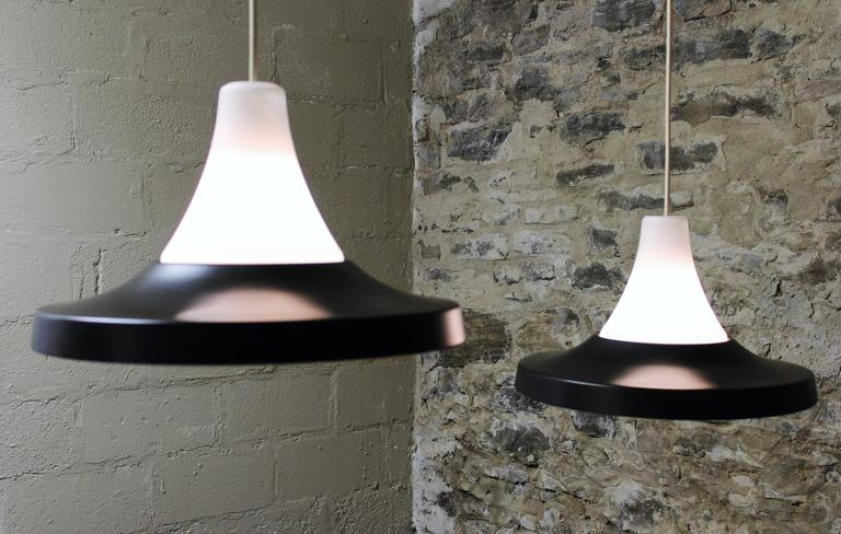 Two Danish Pendant Lights, Mid-Century Modern In Good Condition For Sale In Hamilton, Ontario
