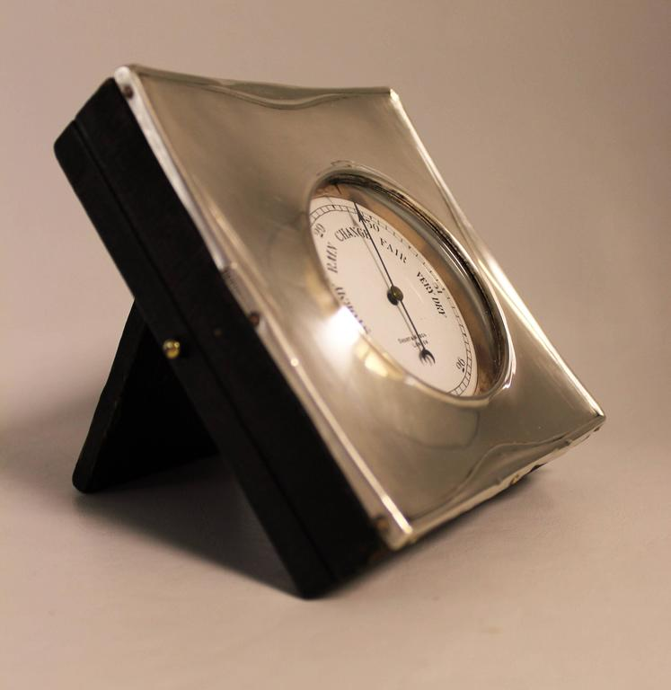 Silver plated Short & Mason barometer in sterling silver case by W G Sothers & Co.