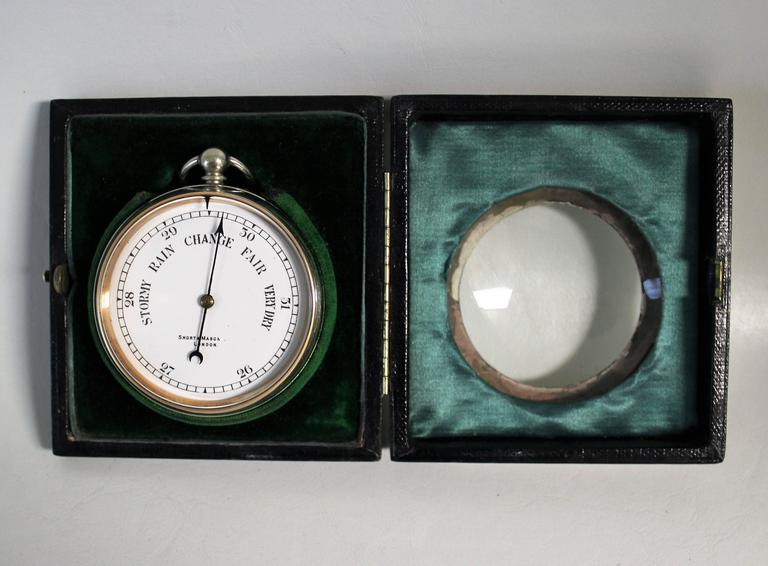 20th Century Short & Mason Barometer in Sterling Silver Case For Sale