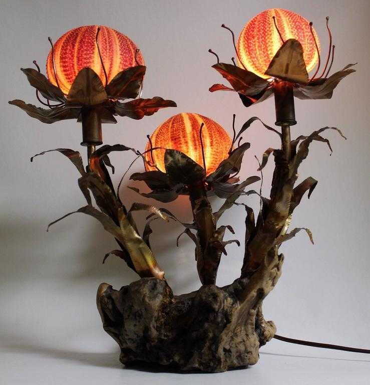 Curtis Jere Sculptural Brutalist Sea Urchin Lamp For Sale