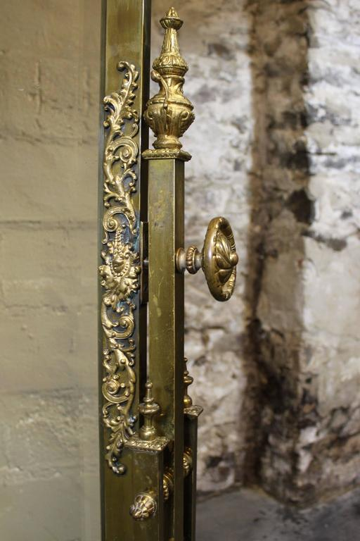 French Brass Cheval Mirror With Gilt Bronze Mounts For