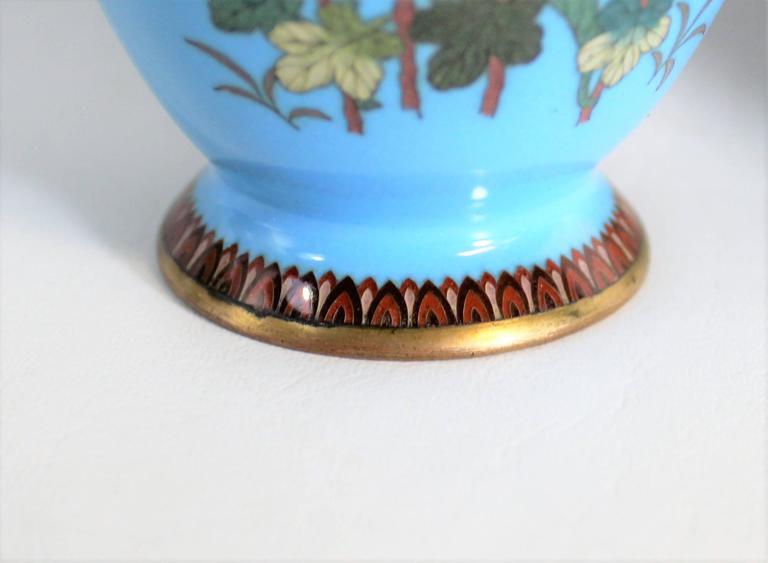 Pair of Japanese Meiji Period Cloisonné Vase's For Sale 5