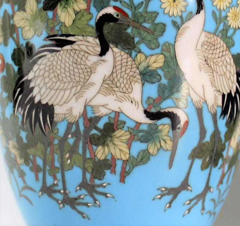 Pair of Japanese Meiji Period Cloisonné Vase's For Sale 2