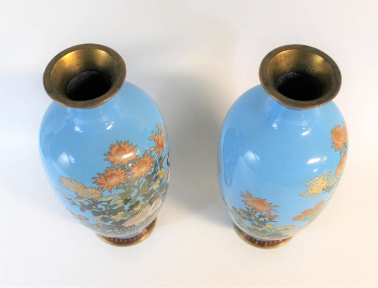 Pair of Japanese Meiji Period Cloisonné Vase's For Sale 1