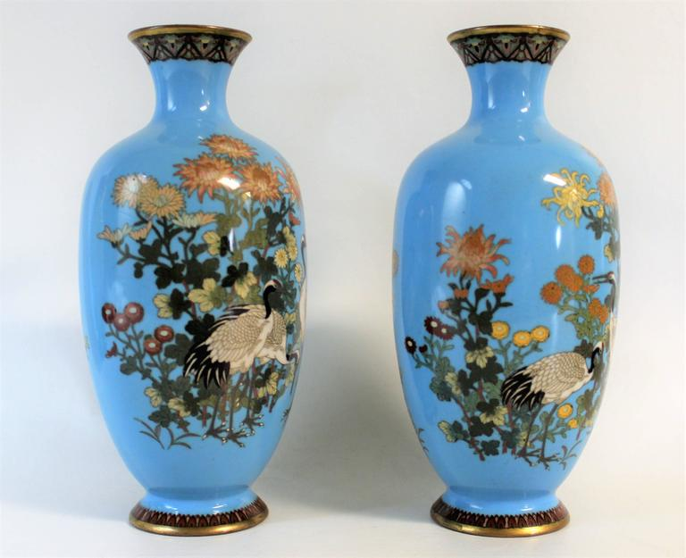 Pair of Japanese Meiji Period cloisonné vase's.