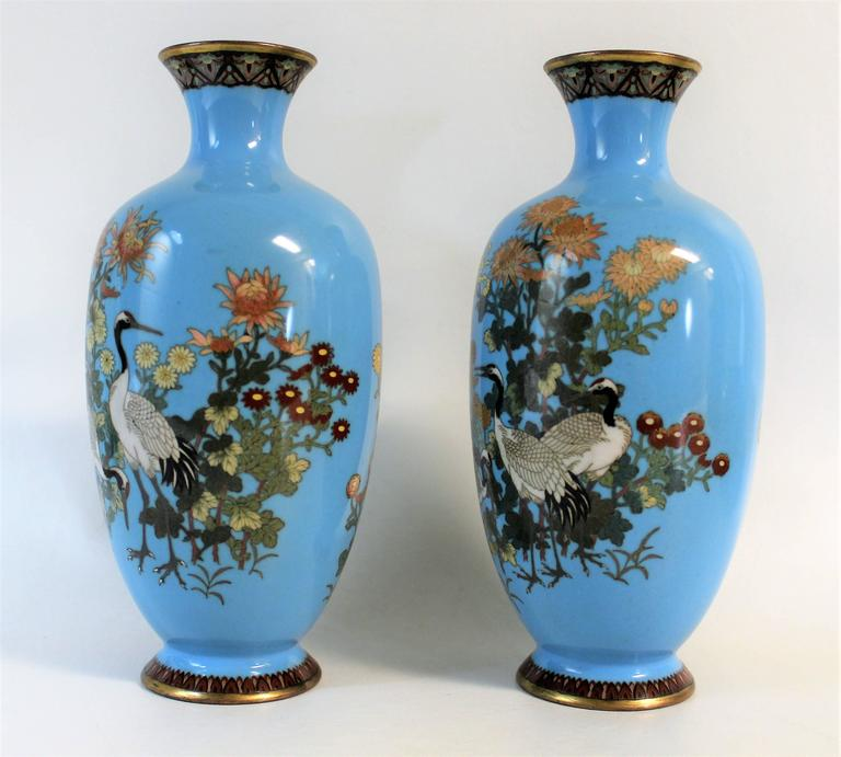 19th Century Pair of Japanese Meiji Period Cloisonné Vase's For Sale