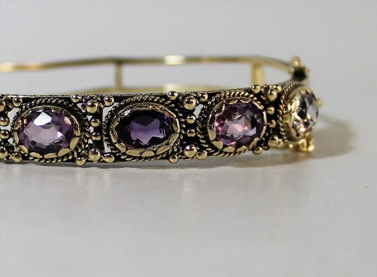 Ladies 14-Carat Gold and Amethyst Bracelet For Sale 1