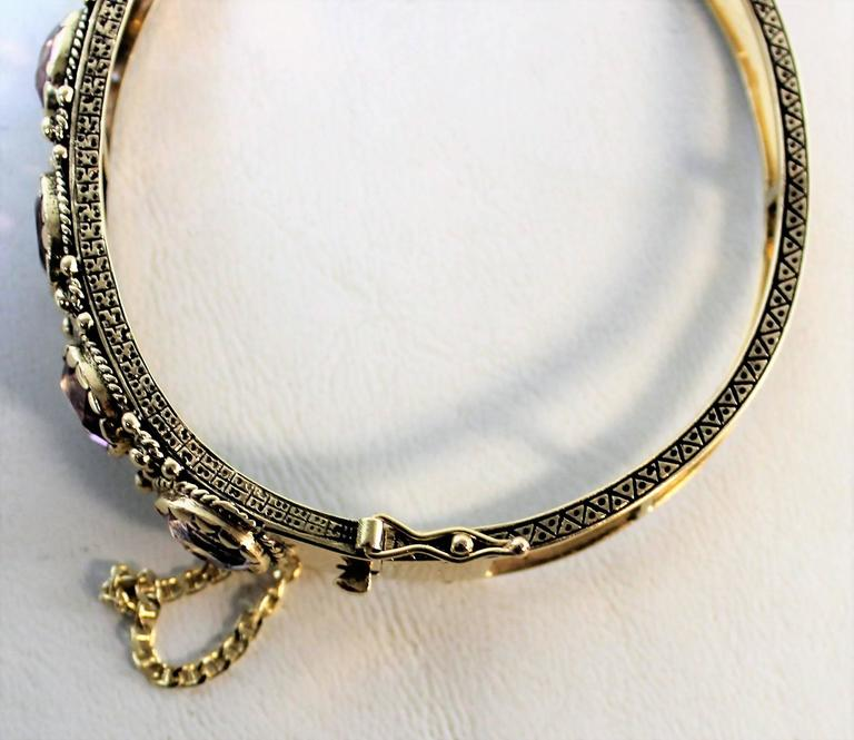 Ladies 14-Carat Gold and Amethyst Bracelet For Sale 3