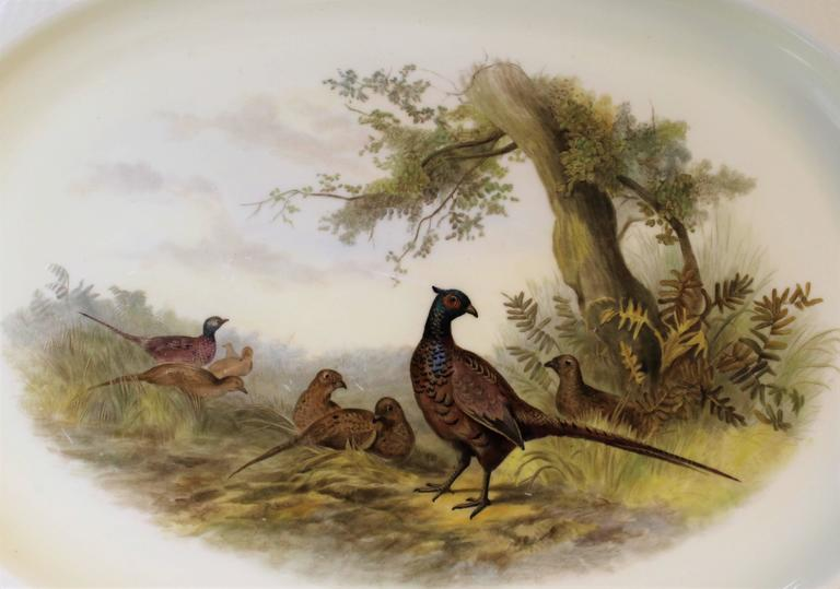 English Royal Worcester Porcelain Platter with Pheasants For Sale