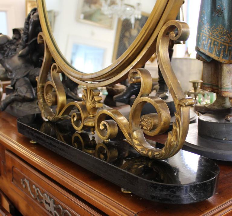 French Art Deco Bronze Table Mirror In Good Condition For Sale In Hamilton, Ontario