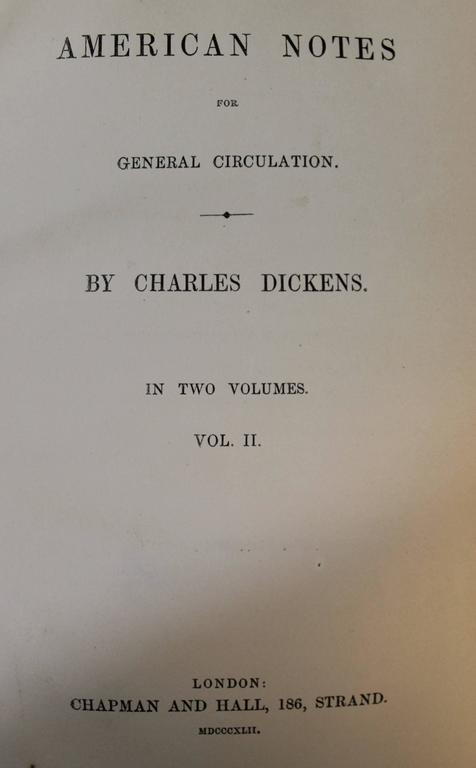19th Century 'American Notes' First Edition Books by Charles Dickens For Sale