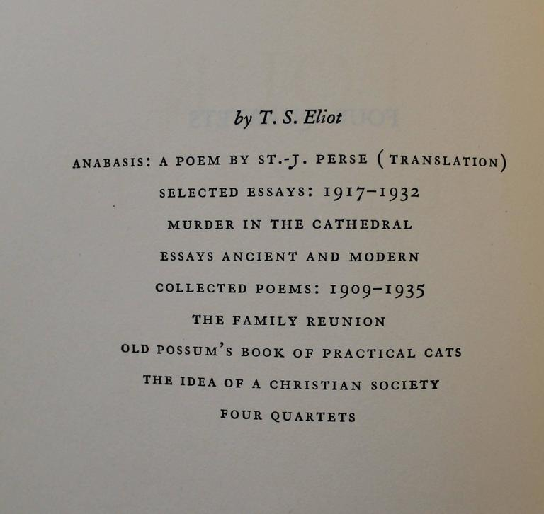 'Four Quartets' First Edition Book by T.S. Eliot In Good Condition For Sale In Hamilton, Ontario