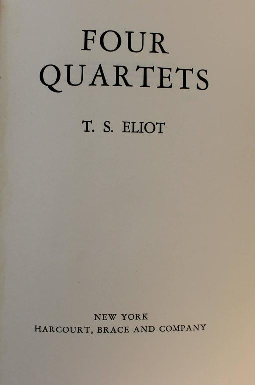 20th Century 'Four Quartets' First Edition Book by T.S. Eliot For Sale