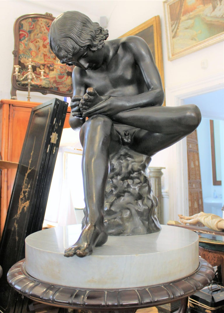 Large 19th Century Italian 'Spinario' Bronze Sculpture on Stand  For Sale 2