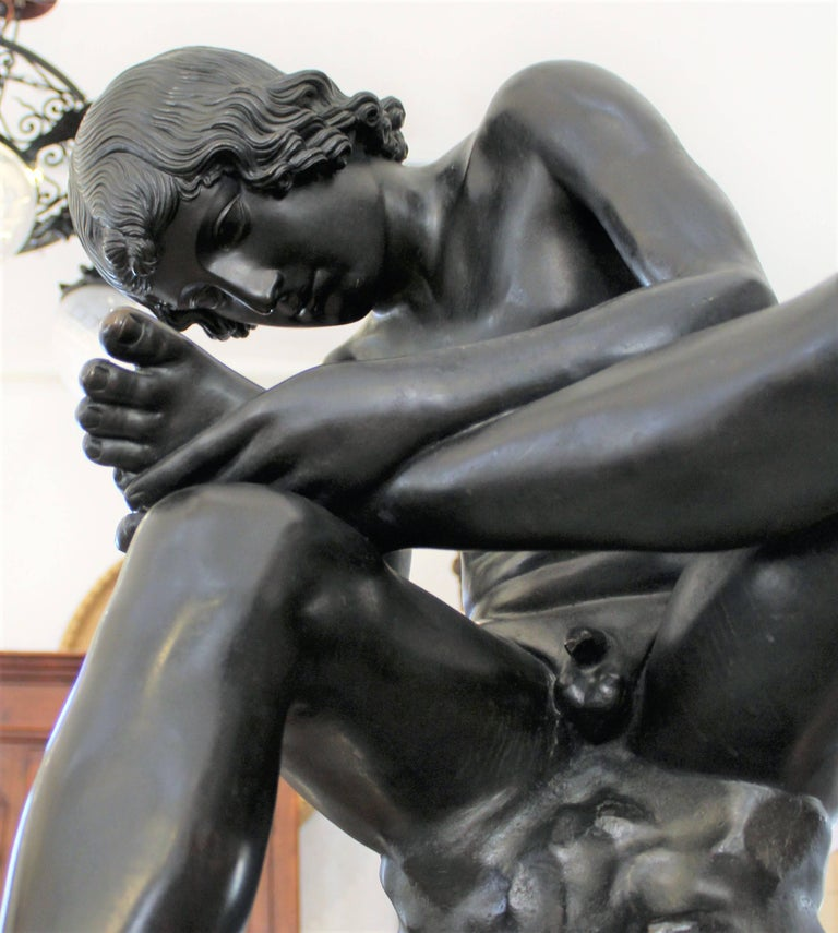 Large 19th Century Italian 'Spinario' Bronze Sculpture on Stand  For Sale 1
