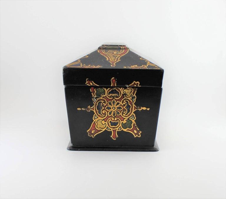 Victorian Jennens & Bettridge Papier Mâché Tea Caddy For Sale
