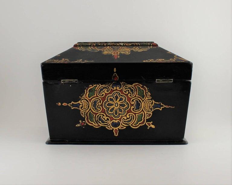 British Jennens & Bettridge Papier Mâché Tea Caddy For Sale
