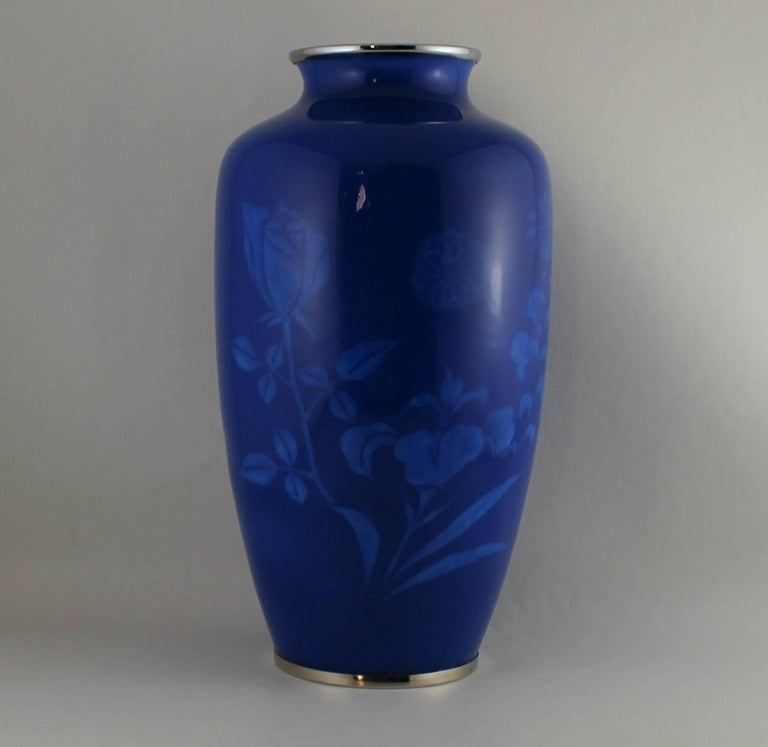 Mid-20th Century Japanese Wireless Cloisonne Vase For Sale