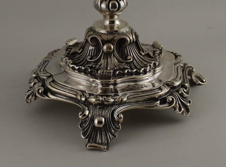 20th Century Pair of John George Smith English Sterling Silver Candlesticks For Sale