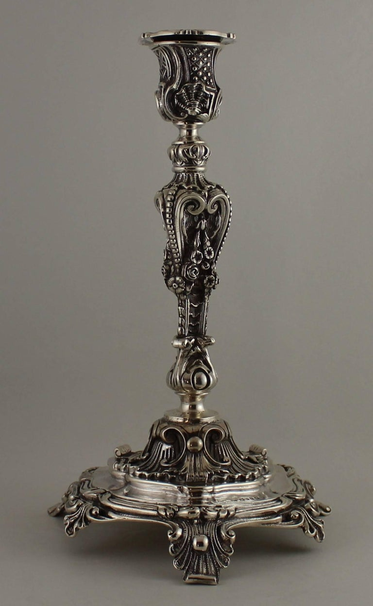 Pair of John George Smith English sterling silver candleholders.