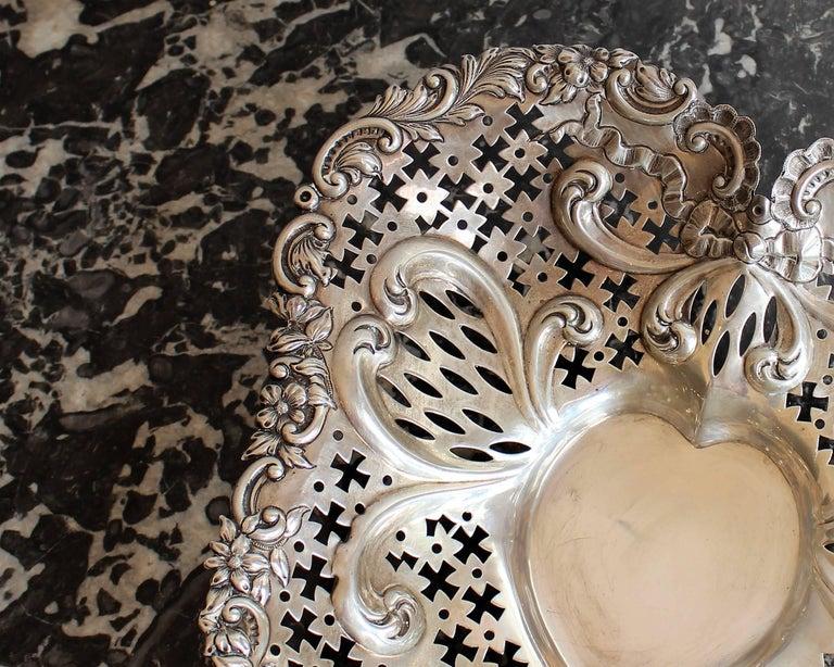 Gorham Pierced Sterling Silver Heart Shaped Basket For Sale 1