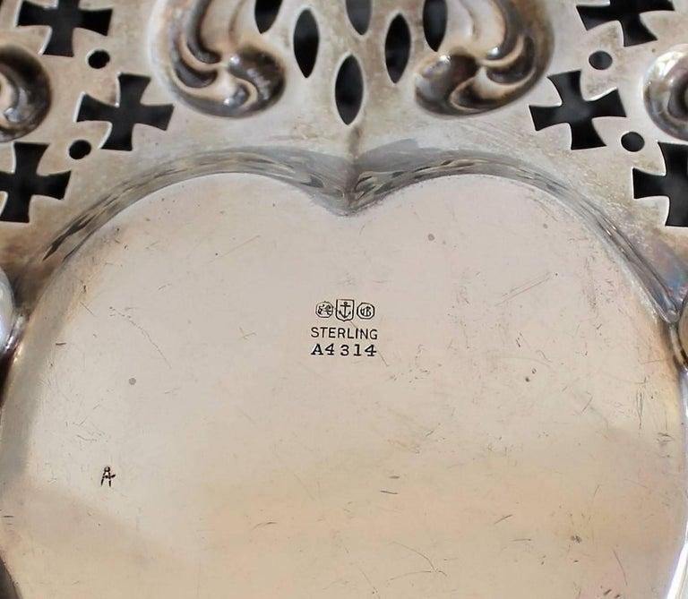 Gorham Pierced Sterling Silver Heart Shaped Basket For Sale 2