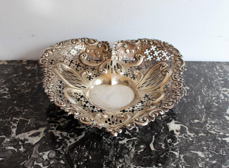 Gorham pierced sterling silver heart shaped basket.