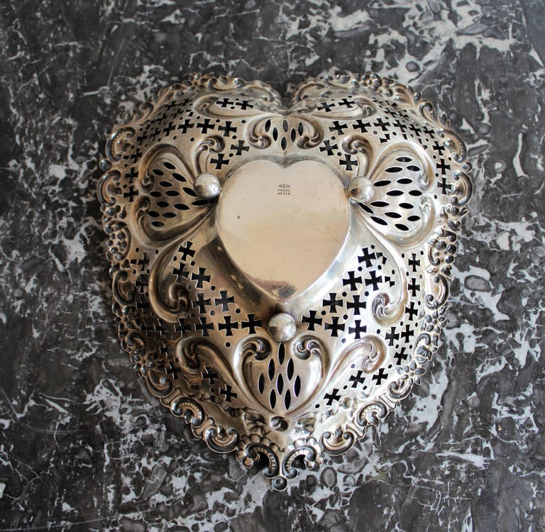 19th Century Gorham Pierced Sterling Silver Heart Shaped Basket For Sale