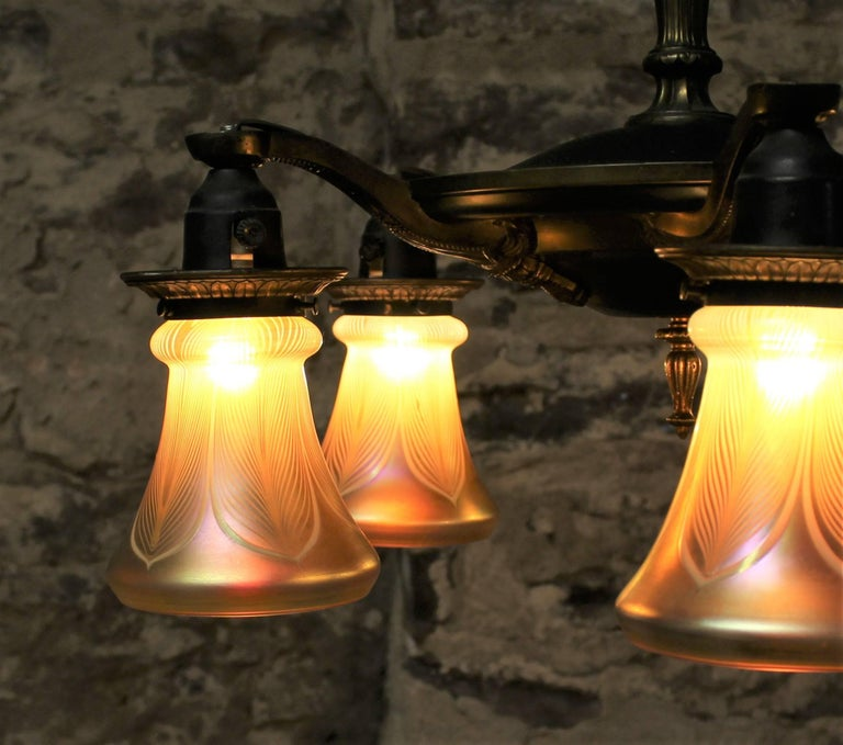 Five-Arm Brass Chandelier with Irridescent Glass Shades For Sale 1