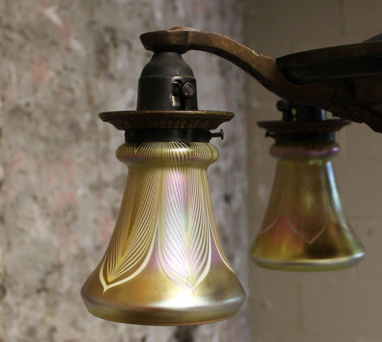 20th Century Five-Arm Brass Chandelier with Irridescent Glass Shades For Sale