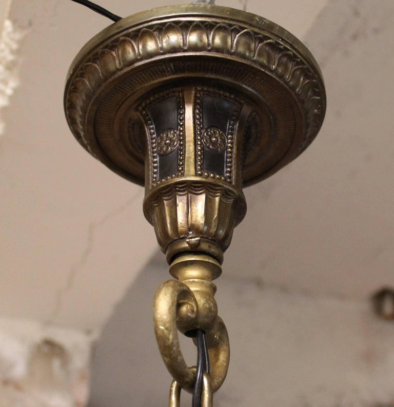 Five-Arm Brass Chandelier with Irridescent Glass Shades For Sale 4