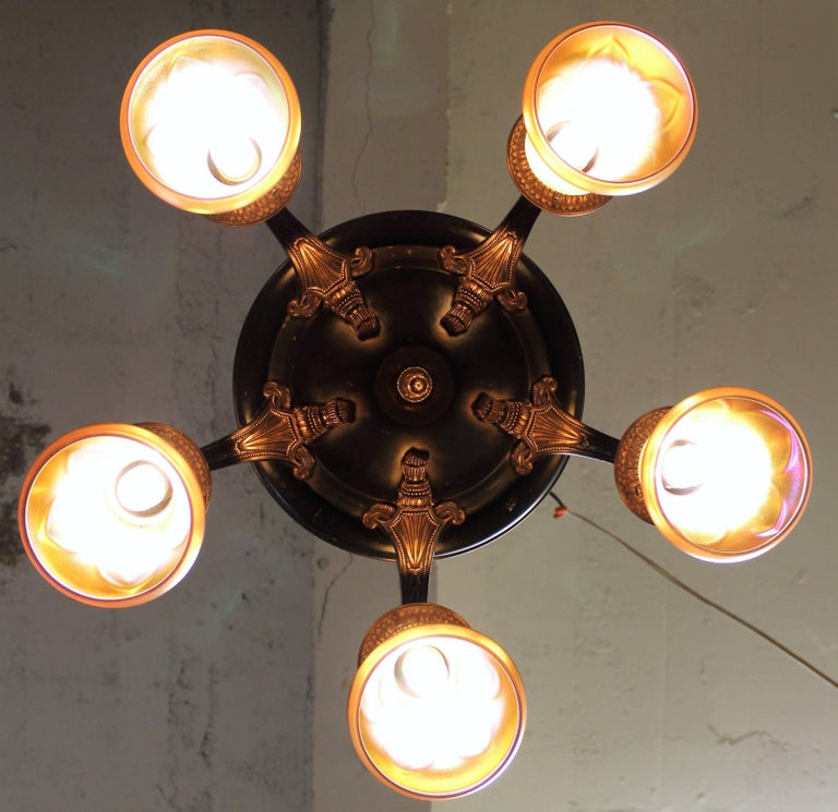Five-Arm Brass Chandelier with Irridescent Glass Shades For Sale 5