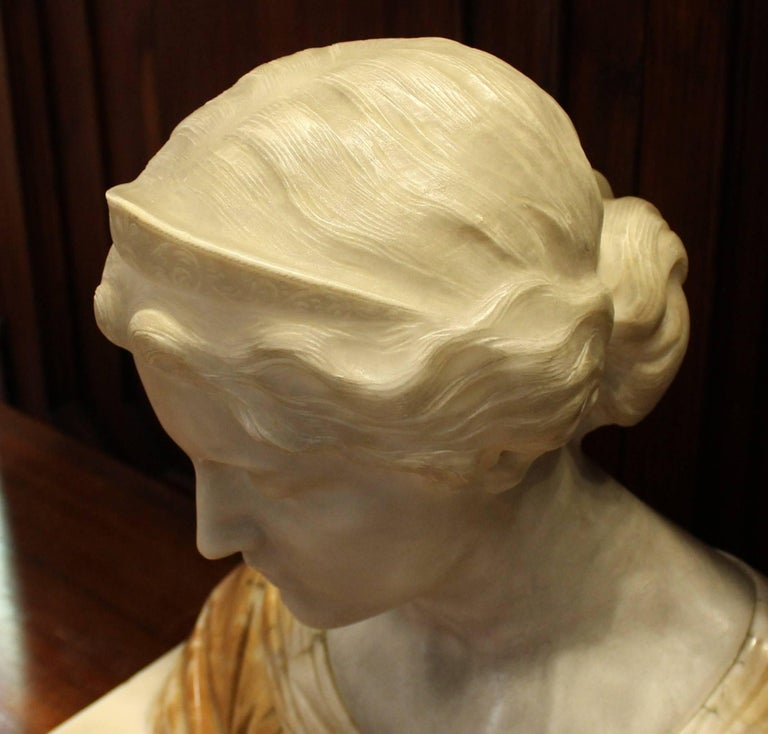 19th Century Italian Alabaster Bust For Sale 5