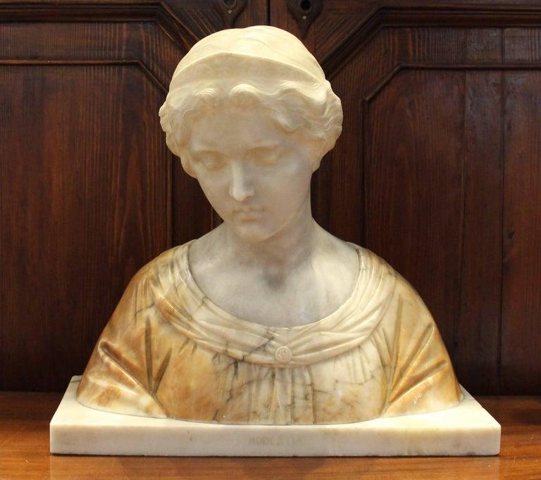 19th century Italian alabaster bust. Titled 'Modestia'.