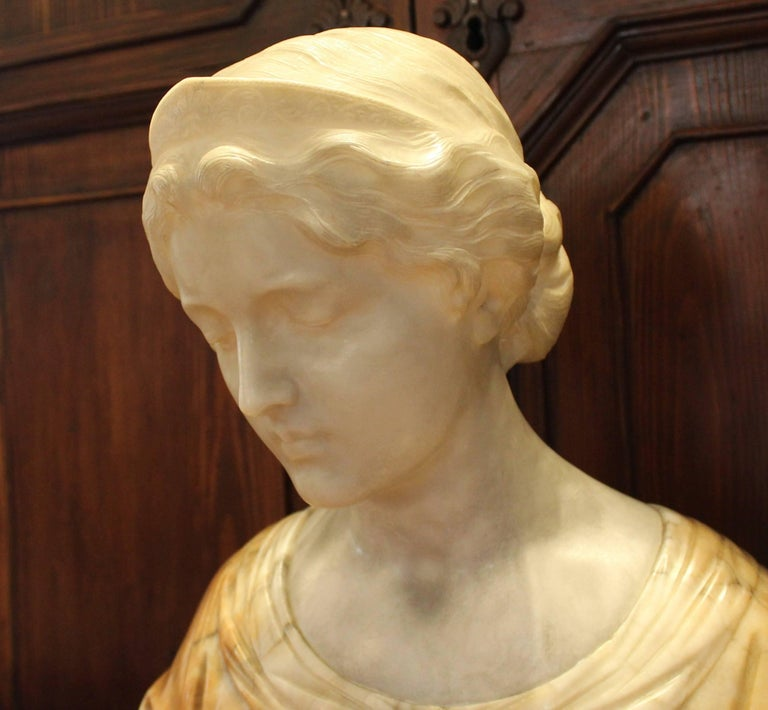19th Century Italian Alabaster Bust For Sale 4