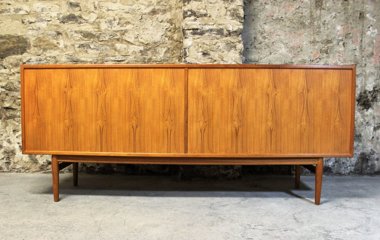 Danish Teak Credenza For Sale : Arne vodder danish teak credenza with tambour doors for sale at 1stdibs