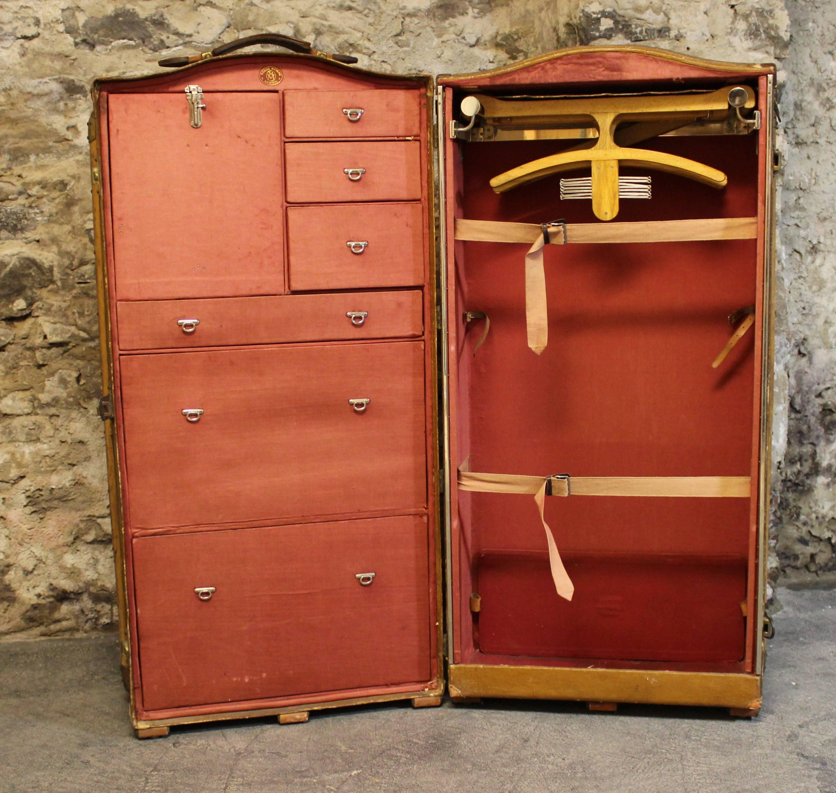 Moritz Madler Double Wardrobe Trunk Travelling Suitcase. The Exterior Is  Trimmed With Leather, Wood