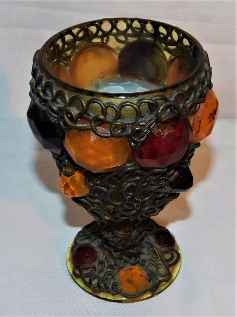 European Ornate 19th Century Medieval Style Bejeweled Goblet/Chalice For Sale