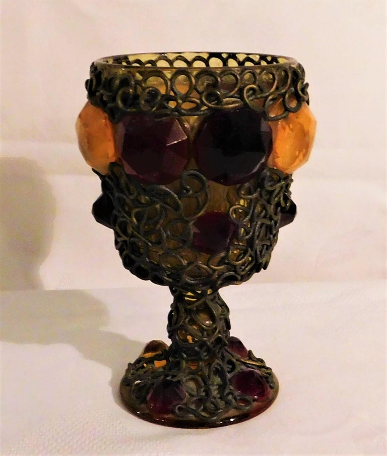 Ornate 19th Century Medieval Style Bejeweled Goblet/Chalice In Good Condition For Sale In Hamilton, Ontario