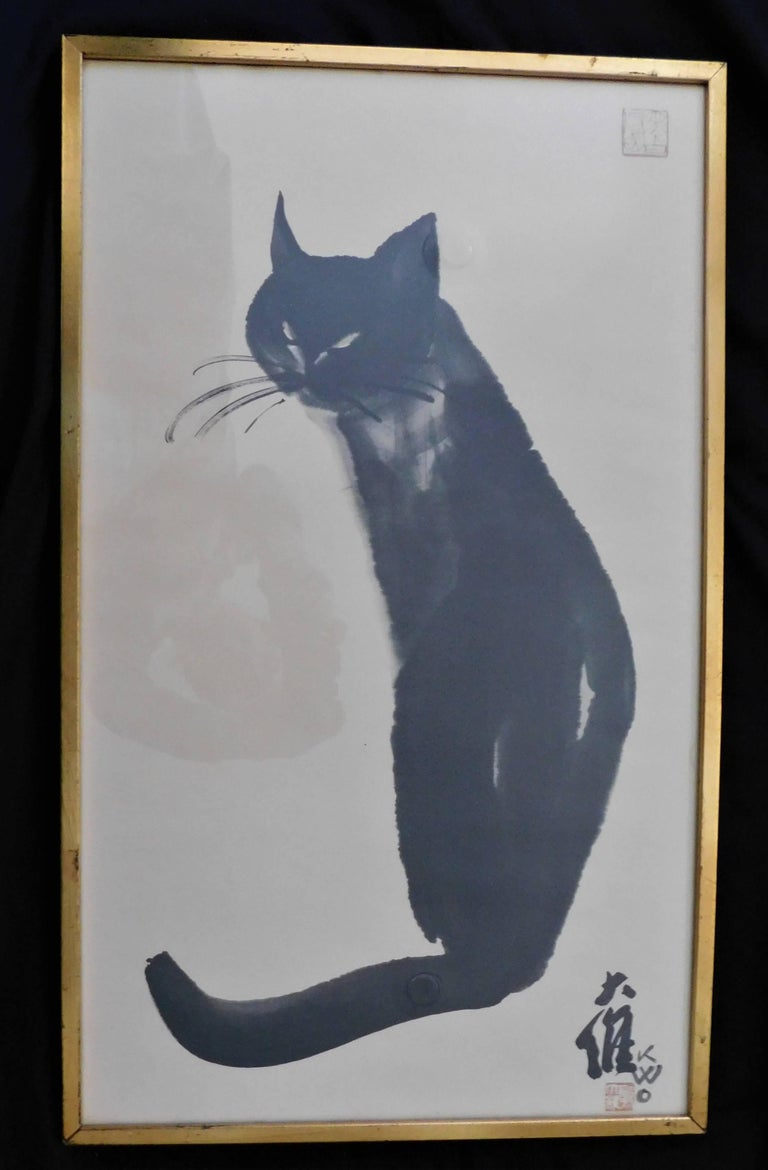 Artist and teacher Dr. David Kwo Da-Wei (1919-2003) became renowned for his Chinese brush paintings of his black cat, Kim. He also pioneered in using complete strokes to create impressionistic images. This limited edition lithogragh is stamped in