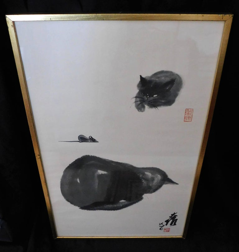 Artist and teacher Dr. David Kwo Da-Wei (1919-2003) became renowned for his Chinese brush paintings of his black cat, Kim. He also pioneered in using complete strokes to create impressionistic images. This limited edition lithograph is stamped in