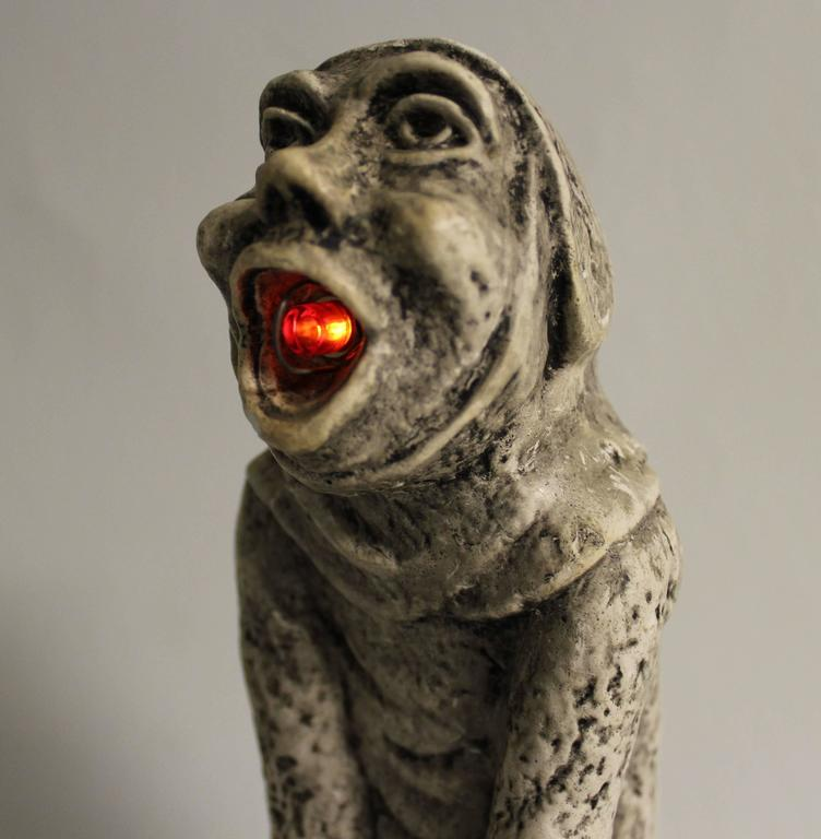 Gothic Revival 19th Century Gothic Sculptural Lamp of a Grotesque For Sale