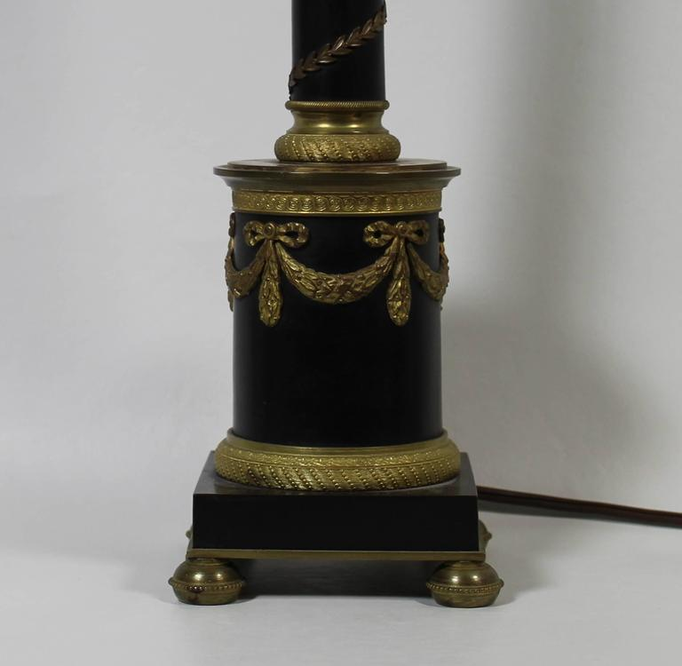 Austrian Bronze and Ormolu French Empire Style Lamp For Sale