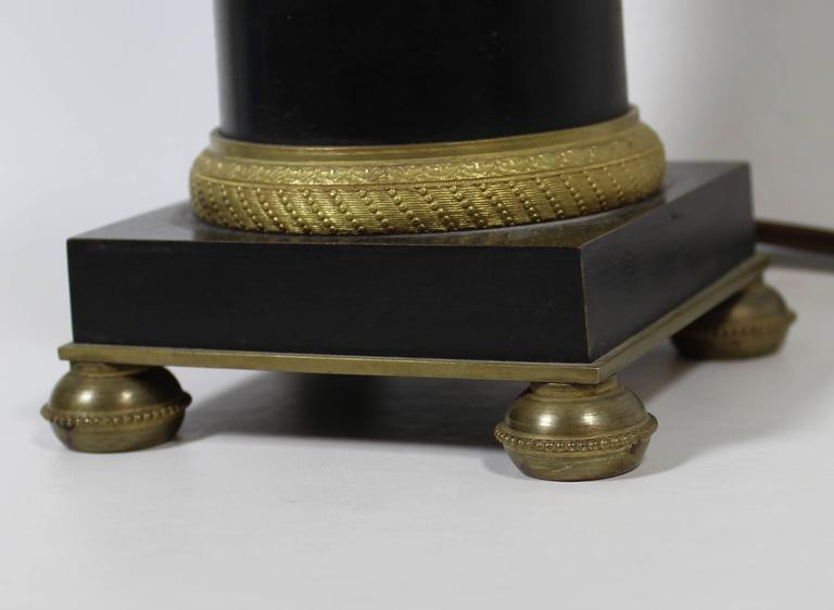 Bronze and Ormolu French Empire Style Lamp In Good Condition For Sale In Hamilton, Ontario