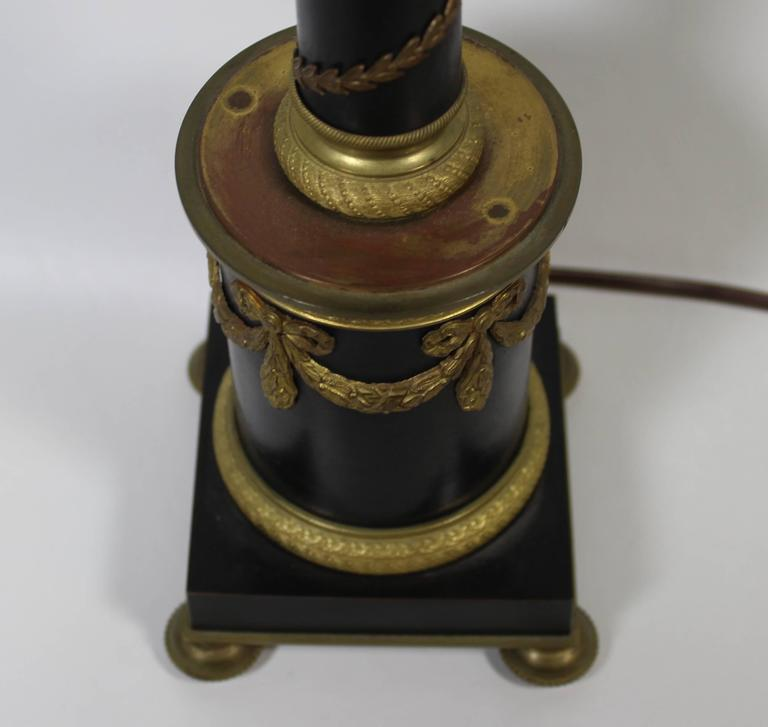Bronze and Ormolu French Empire Style Lamp For Sale 1