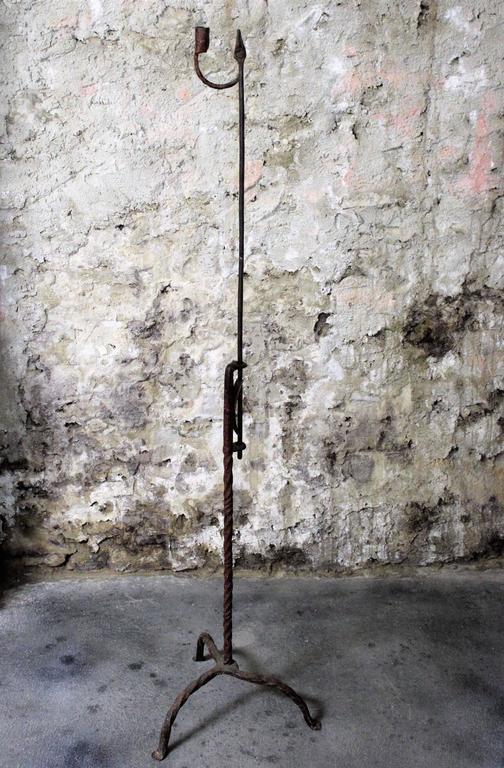 18th Century Adjustable Floor Standing Wrought Iron Rush