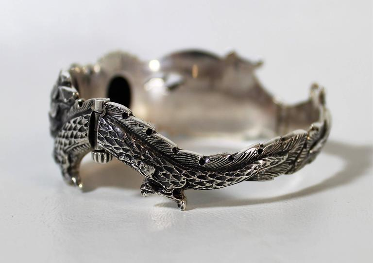 20th Century Nepalese Sterling Silver and Onyx Dragon Bracelet For Sale