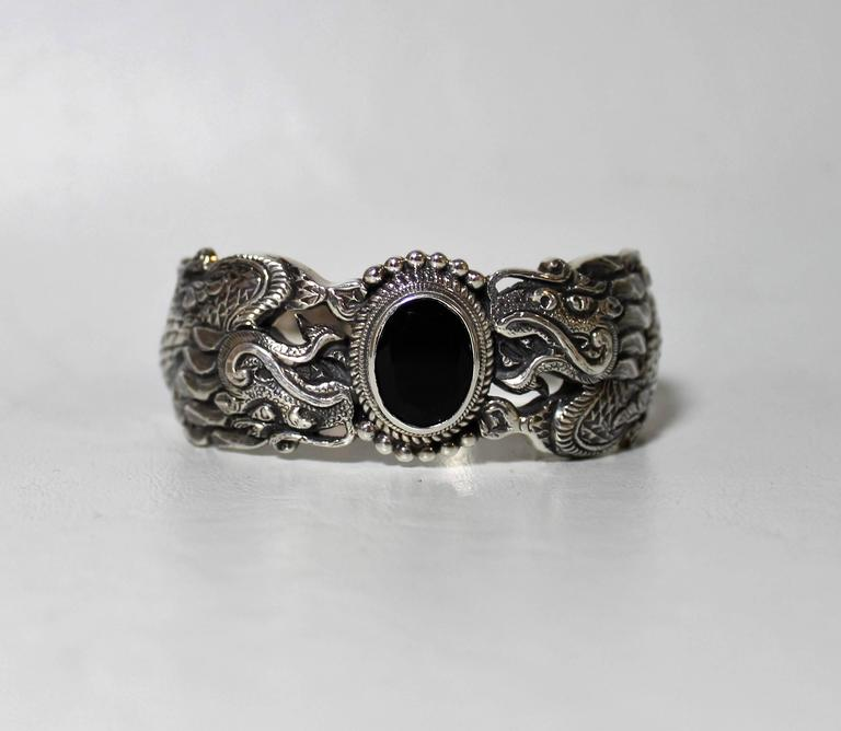 Nepalese Sterling Silver and Onyx Dragon Bracelet For Sale 1