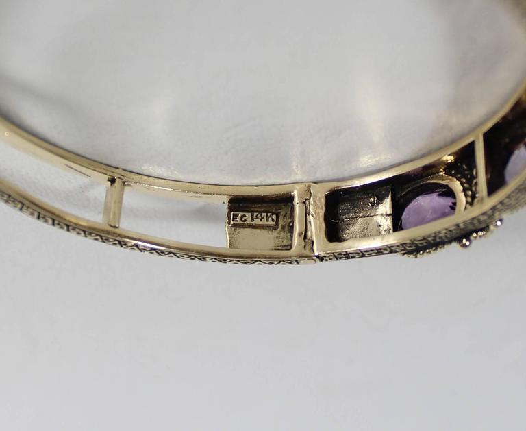 Ladies 14-Carat Gold and Amethyst Bracelet For Sale 4