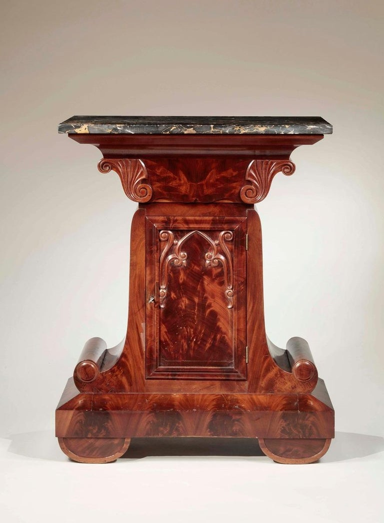 American Gothic Revival Marble-Top Mahogany Mixing Table For Sale